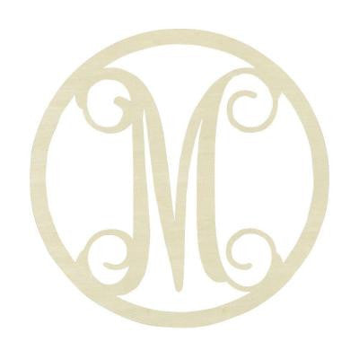 19 in. Unfinished Single Circle Monogram (M)