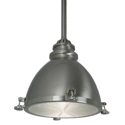 1-Light Brushed-Nickel Ceiling Metal Dome Pendant