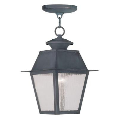 Providence 1-Light Hanging Outdoor Charcoal Incandescent Lantern