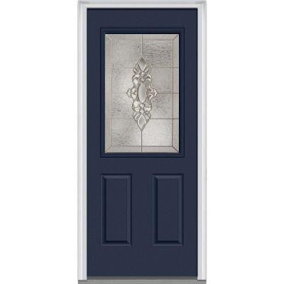 36 in. x 80 in. Heirloom Master Decorative Glass 1/2 Lite Painted Fiberglass Smooth Prehung Front Door