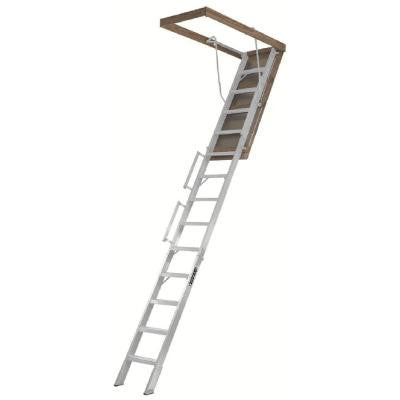 Everest 10 ft. - 12 ft., 25.5 x 63 in. Aluminum Attic Ladder with 350 lb. Load Capacity