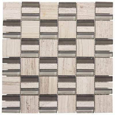 Meadows 12 in. x 12 in. x 8 mm Glass and Grey Limestone Mosaic Wall Tile