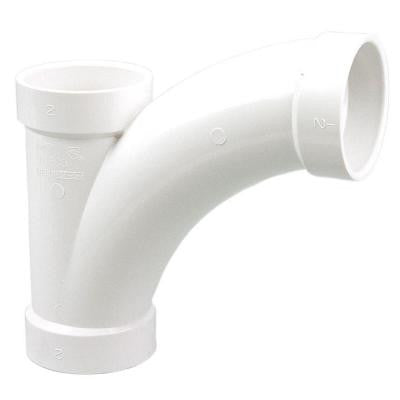 3 in. PVC DWV All-Hub Long-Radius Combination Sanitary Tee