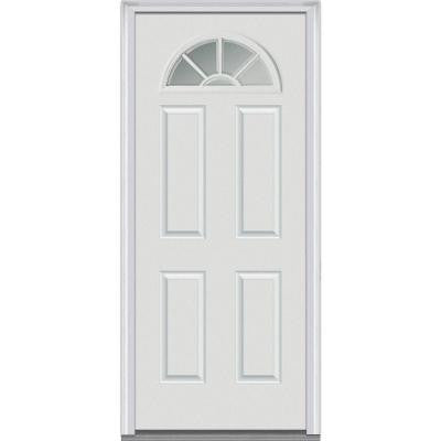 30 in. x 80 in. Classic Clear Glass 1/4 Lite 4-Panel Primed White Fiberglass Smooth Prehung Front Door