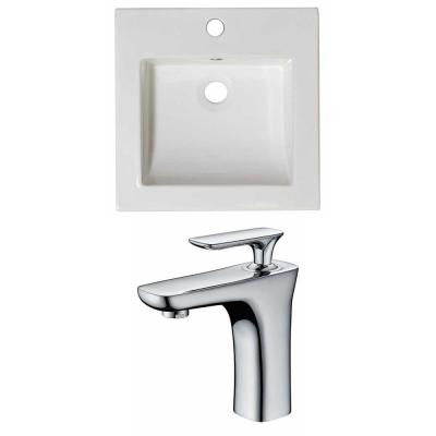 21.5 in. W x 18 in. D Ceramic Vanity Top Set with Basin in White with Single Hole cUPC Faucet