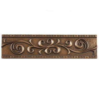 Contempo Scroll Liner Bronze 3 in. x 12 in. Metallic Wall Trim Tile