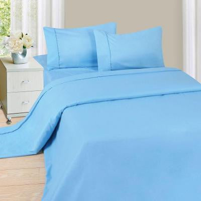 1200 Series Blue 75 gsm Full Microfiber Sheet Set (4-Piece)
