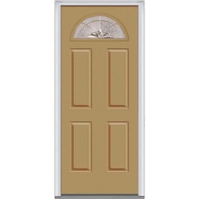 36 in. x 80 in. Heirloom Master Decorative Glass 1/4 Lite Painted Builder's Choice Steel Prehung Front Door