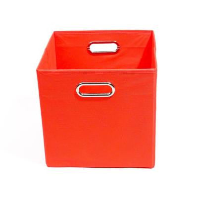 Bold 10.5 in. x 10.5 in. x 10.5 in. Folding Solid Red Fabric Storage Bin