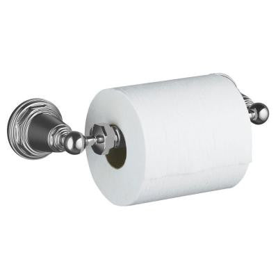 Pinstripe Wall-Mount Double Post Toilet Paper Holder in Polished Chrome
