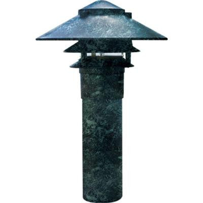 Corbin 1-Light Verde Green 3-Tier Outdoor Pagoda Pathway Light