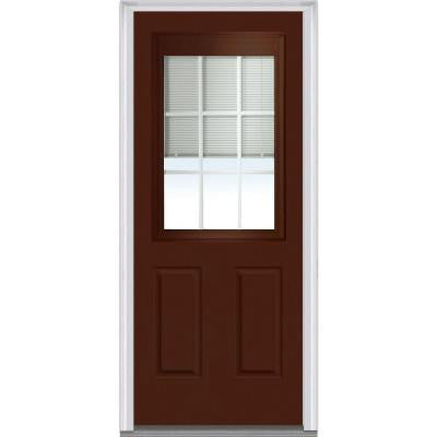 32 in. x 80 in. Classic Clear RLB GBG Low-E Glass 1/2-Lite 2-Panel Painted Steel Prehung Front Door
