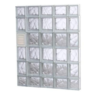 34.75 in. x 42.5 in. x 3.125 in. Wave Pattern Glass Block Window with Dryer Vent
