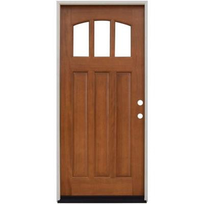 36 in. x 80 in. Craftsman 3 Lite Arch Stained Mahogany Wood Prehung Front Door