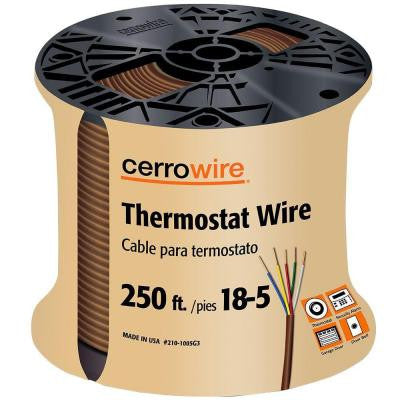 250 ft. 18/5 Solid Thermostat Wire - Brown