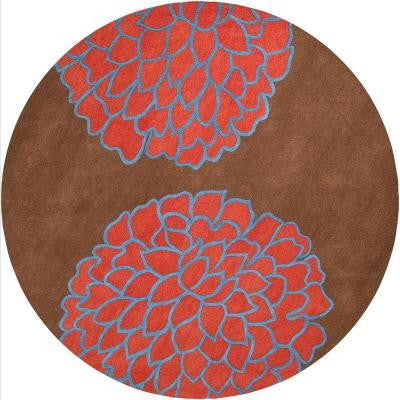 Crofton Brown 8 ft. Round Area Rug