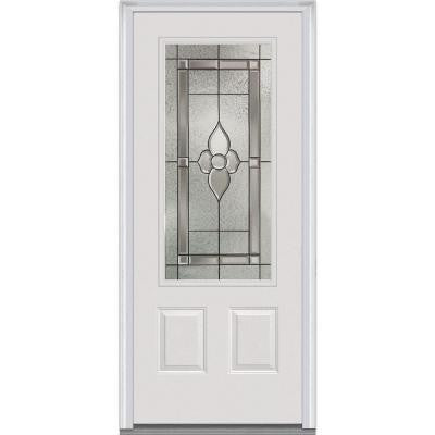 36 in. x 80 in. Master Nouveau Decorative Glass 3/4 Lite 2-Panel Primed White Majestic Steel Prehung Front Door
