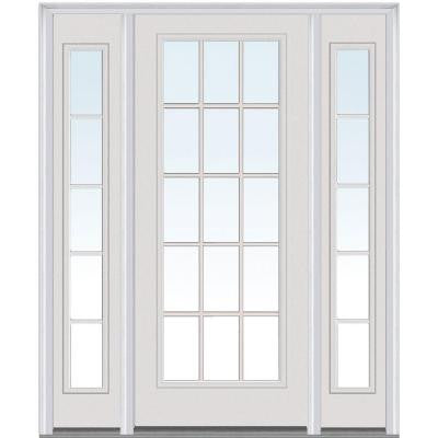 64 in. x 80 in. Classic Clear Glass GBG Full Lite Painted Builder's Choice Steel Prehung Front Door with Sidelites