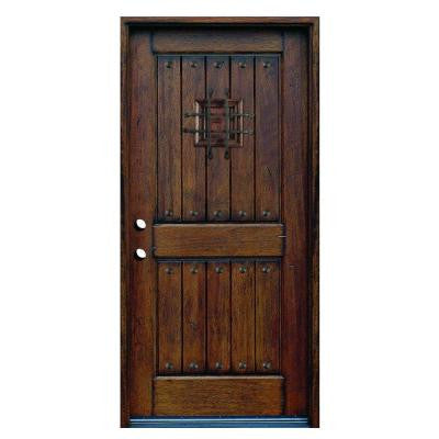 36 in. x 80 in. Rustic Mahogany Type Prefinished Distressed Solid Wood Speakeasy Prehung Front Door