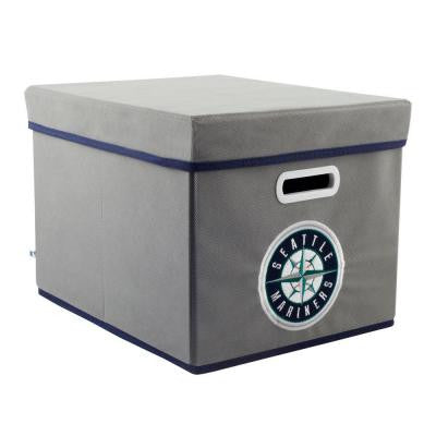 MLB STACKITS Seattle Mariners 12 in. x 10 in. x 15 in. Stackable Grey Fabric Storage Cube