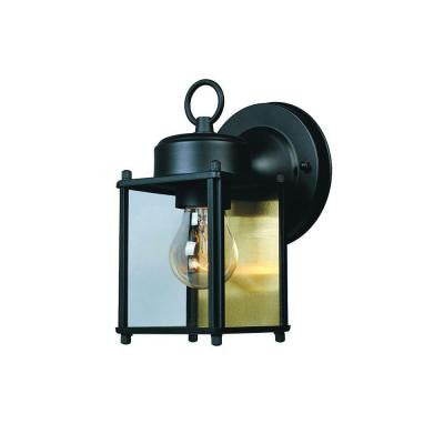 1-Light Solid Black Outdoor Wall Lantern with Clear Glass