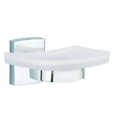 Klaam Wall Mount Soap Dish Holder with Frosted Glass in Chrome