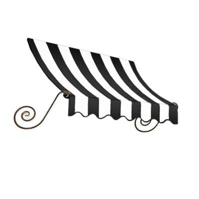 12 ft. Charleston Window Awning (24 in. H x 12 in. D) in Black/White Stripe