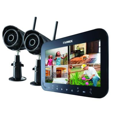 Wireless 4-Channel VGA Surveillance System with 2 Weather Resistance Cameras and 7 in. Monitor with SD Recording