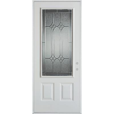 32 in. x 80 in. Orleans Patina 3/4 Lite 2-Panel Prefinished White Left-Hand Inswing Steel Prehung Front Door