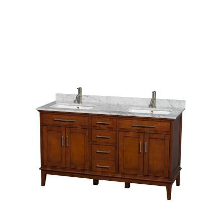 Hatton 60 in. Double Vanity in Light Chestnut with Marble Vanity Top in Carrara White and Square Sinks