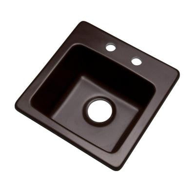 Westminster Drop-In Composite Granite 16 in. 2-Hole Single Bowl Bar Sink in Espresso