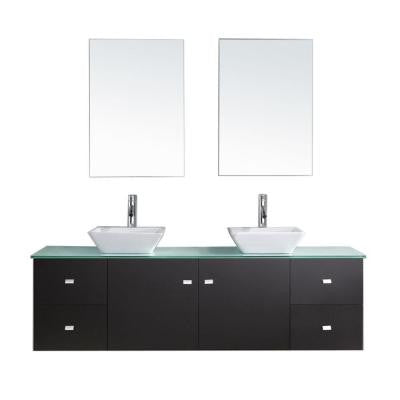 Clarissa 72 in. Double Basin Vanity in Espresso with Glass Vanity Top and Mirror Cabinet in Aqua