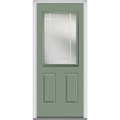 32 in. x 80 in. Classic Clear Glass PIM 1/2-Lite Painted Fiberglass Smooth Prehung Front Door