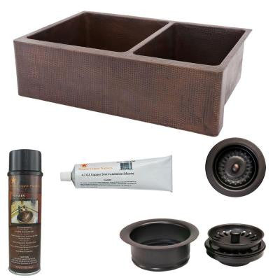 Undermount Hammered Copper 33 in. 0-Hole 60/40 Double Bowl Kitchen Sink and Drain in Oil Rubbed Bronze