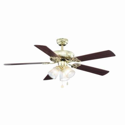 Vintage 52 in. Polished Brass Ceiling Fan