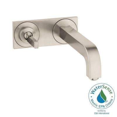 Citterio Wall-Mount 1-Handle Low-Arc Bathroom Faucet in Brushed Nickel with Baseplate