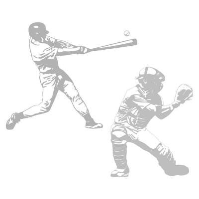 68 in. x 82 in. Action Baseball 2-Piece Wall Decal