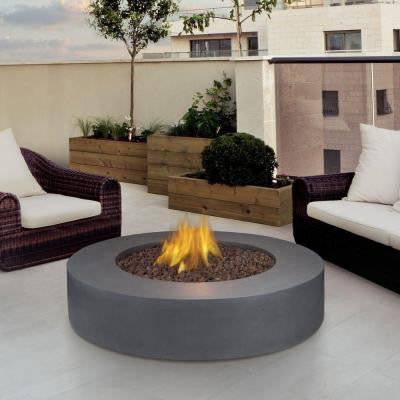 Mezzo 42 in. Round Propane Gas Fire Pit in Flint Gray