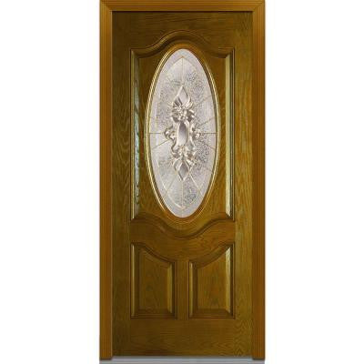 36 in. x 80 in. Heirloom Master Decorative Glass 3/4 Oval Lite 2-Panel Finished Oak Fiberglass Prehung Front Door