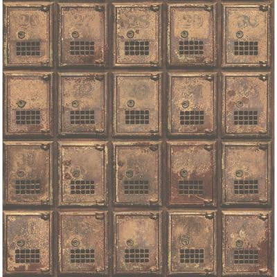 8 in. W x 10 in. H Rust Vintage P.O. Boxes Distressed Metal Wallpaper Sample