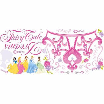 5 in. x 19 in. Disney Princess Crown Peel and Stick Giant Wall Decal (18-Piece)