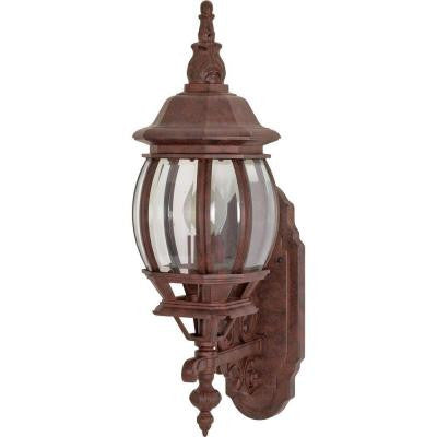 1-Light - 20 in. Wall Lantern with Clear Beveled Glass Old Bronze