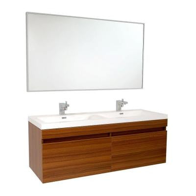 Largo 57 in. Double Vanity in Teak with Acrylic Vanity Top in White and Mirror
