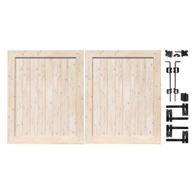 Pro Series 5 ft. x 6 ft. White Cedar Vinyl Anaheim Privacy Double Drive Through Fence Gate