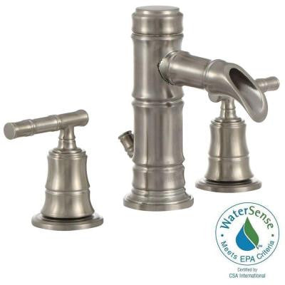 Bamboo Series 8 in. Widespread 2-Handle Low-Arc Bathroom Faucet in Brushed Nickel