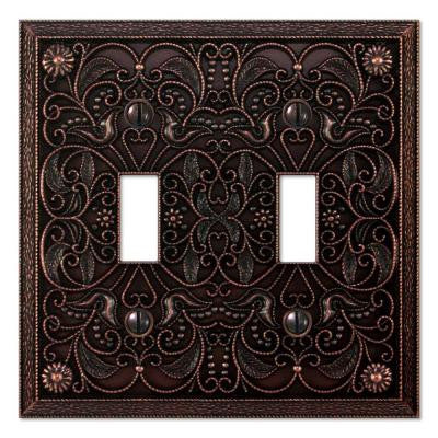Steel 2 Toggle Wall Plate - Antique Bronze