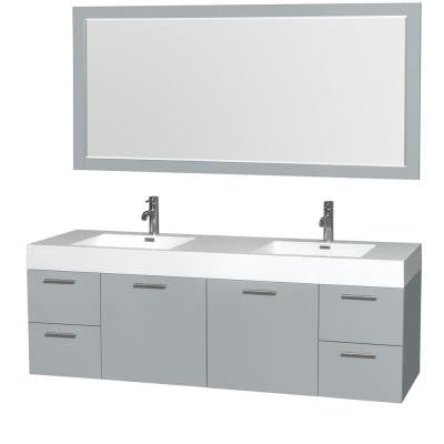 Amare 72 in. W x 21.75 in. D Vanity in Dove Gray with Acrylic Resin Vanity Top in White with White Basins and Mirror