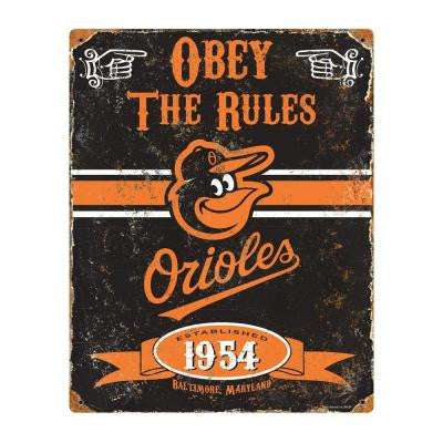 14.5 in. H x 11.5 in. D Heavy Duty Steel Baltimore Orioles Embossed Metal Sign Wall Art