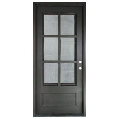 46 in. x 97.5 in. Craftsman Classic 6 Lite Painted Oil Rubbed Bronze Decorative Wrought Iron Prehung Front Door