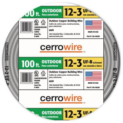 100 ft. 12/3 Underground Feeder (UF) Wire - Gray